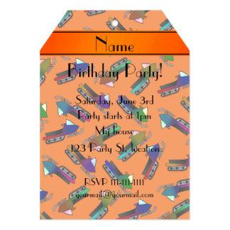 Personalized name orange snowmobiles 5x7 paper invitation card