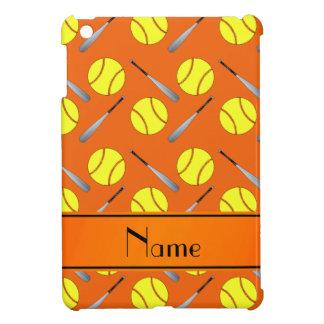 Personalized name orange softball pattern iPad mini case