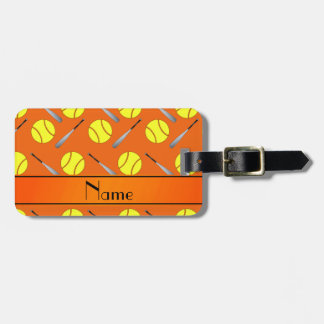 Personalized name orange softball pattern luggage tag