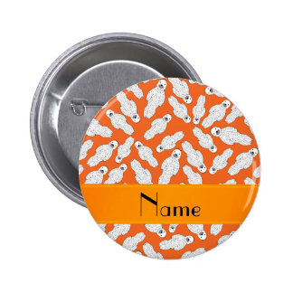 Personalized name orange spotted seal 6 cm round badge