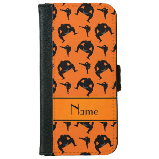 Personalized name orange sumo wrestling iPhone 6 wallet case
