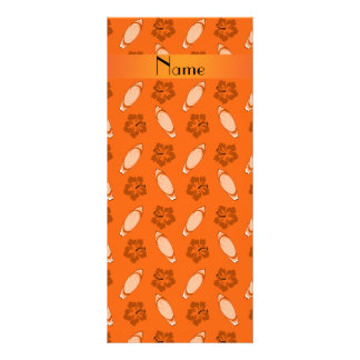 Personalized name orange surfboard pattern rack card template