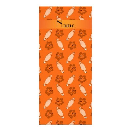Personalized name orange surfboard pattern custom rack card