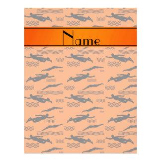 Personalized name orange swimming pattern 21.5 cm x 28 cm flyer