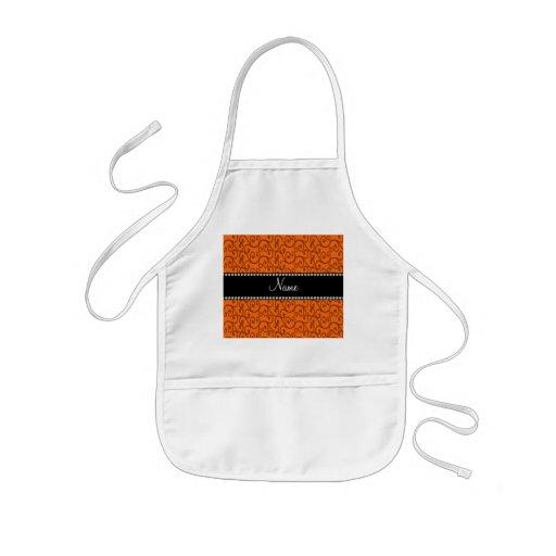 Personalized name orange swirls apron