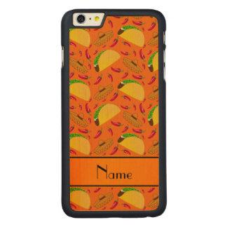 Personalized name orange tacos sombreros chilis carved® maple iPhone 6 plus slim case
