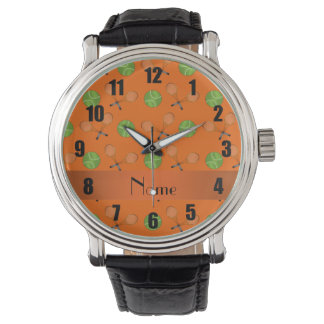 Personalized name orange tennis balls watch