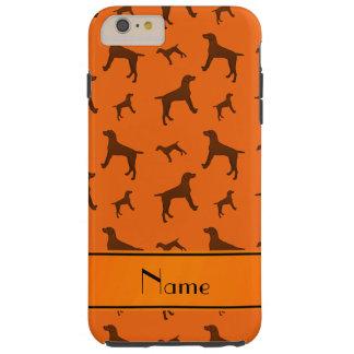 Personalized name orange Vizsla dogs Tough iPhone 6 Plus Case