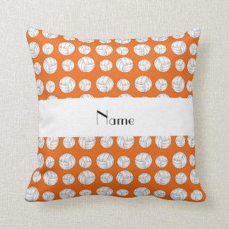 Personalized name orange volleyball balls cushion