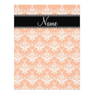 Personalized name orange white damask flyer design
