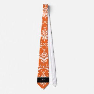 Personalized name orange white damask ties