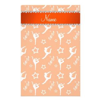 Personalized name orange white gymnastics stars stationery