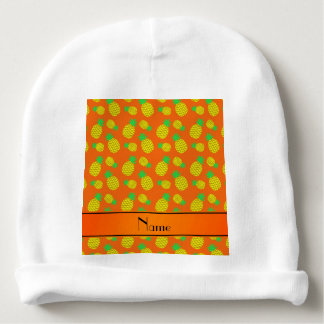 Personalized name orange yellow pineapples baby beanie