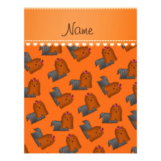 Personalized name orange yorkshire terriers 21.5 cm x 28 cm flyer
