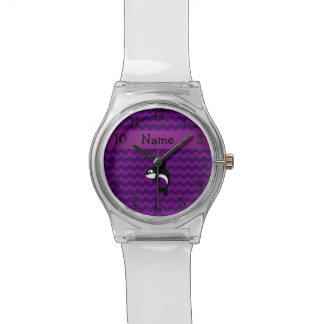 Personalized name orca whale purple chevrons watch