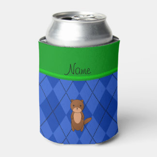 Personalized name otter blue argyle can cooler