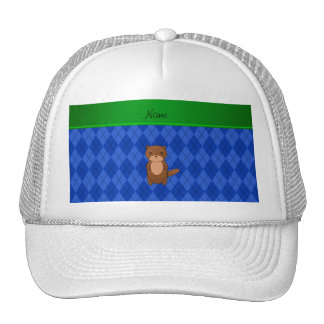 Personalized name otter blue argyle cap