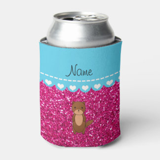 Personalized name otter neon hot pink glitter can cooler