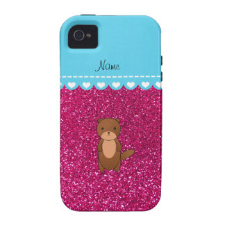 Personalized name otter neon hot pink glitter iPhone 4 cases