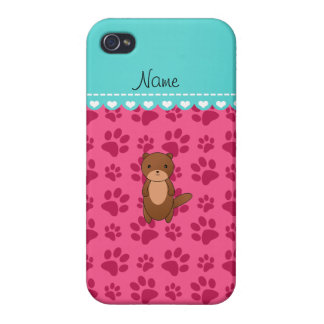 Personalized name otter pink paws covers for iPhone 4