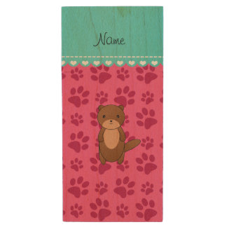 Personalized name otter pink paws wood USB 2.0 flash drive