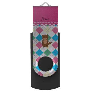 Personalized name otter rainbow argyle swivel USB 2.0 flash drive