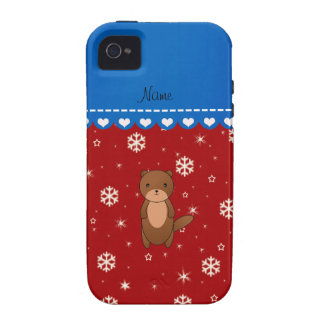 Personalized name otter red snowflakes iPhone 4 covers