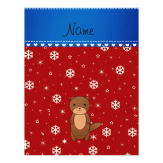 Personalized name otter red snowflakes full color flyer