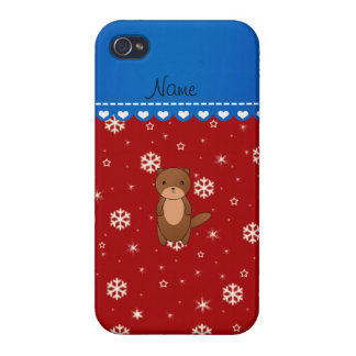 Personalized name otter red snowflakes iPhone 4/4S case