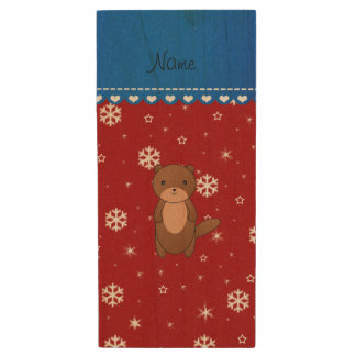 Personalized name otter red snowflakes wood USB 2.0 flash drive