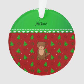 Personalized name otter red trees stars ornament