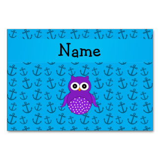 Personalized name owl blue anchors pattern table cards