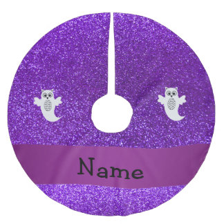 Personalized name owl ghost purple glitter brushed polyester tree skirt