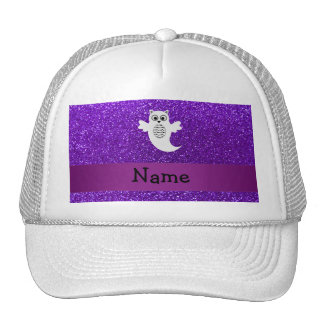 Personalized name owl ghost purple glitter mesh hats