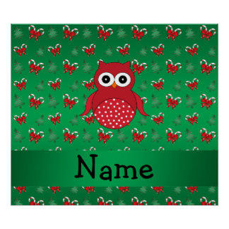Personalized name owl green candy canes bows poster