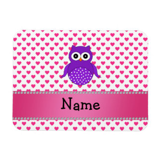 Personalized name owl pink hearts polka dots vinyl magnets
