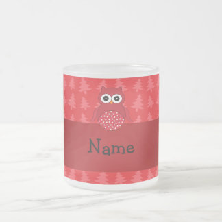 Personalized name owl red christmas trees frosted glass coffee mug