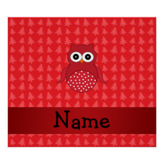 Personalized name owl red christmas trees posters