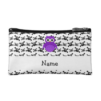 Personalized name owl skulls pattern cosmetic bag