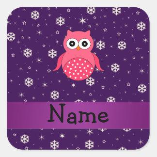 Personalized name owl snowflakes stars sticker