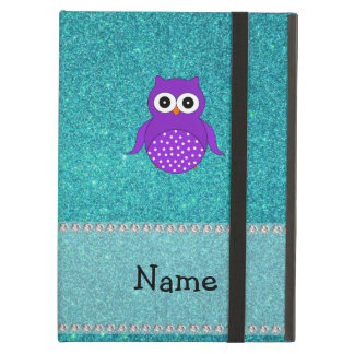 Personalized name owl turquoise glitter iPad air cover