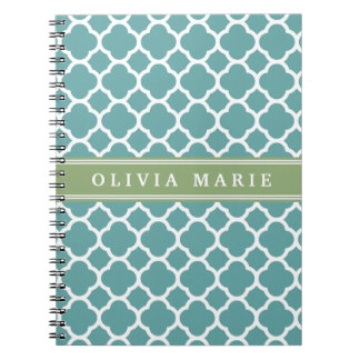 Personalized Name Pale Blue Quatrefoil Pattern Spiral Notebook