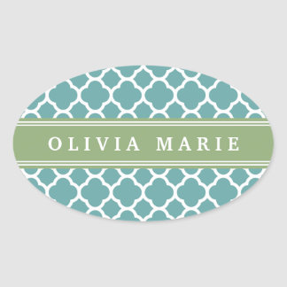 Personalized Name Pale Blue Quatrefoil Pattern Stickers