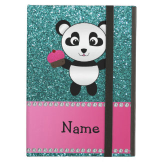 Personalized name panda cupcake turquoise glitter case for iPad air