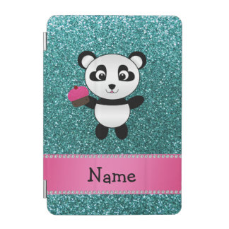 Personalized name panda cupcake turquoise glitter iPad mini cover