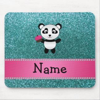 Personalized name panda cupcake turquoise glitter mouse mat