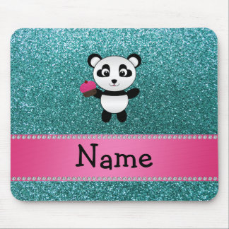 Personalized name panda cupcake turquoise glitter mouse pad