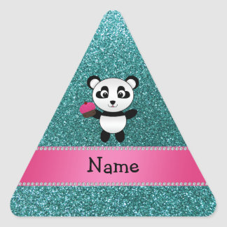 Personalized name panda cupcake turquoise glitter triangle sticker