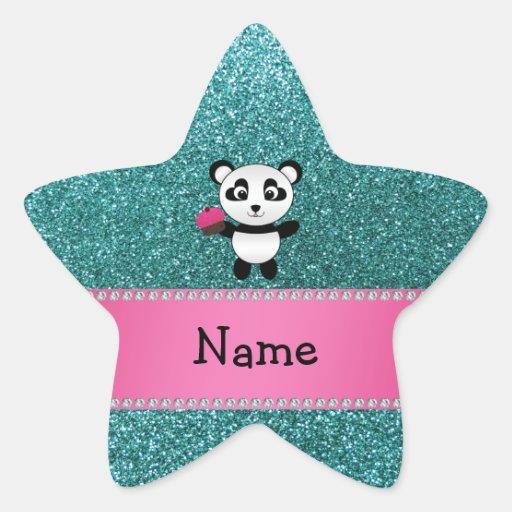 Personalized name panda cupcake turquoise glitter stickers