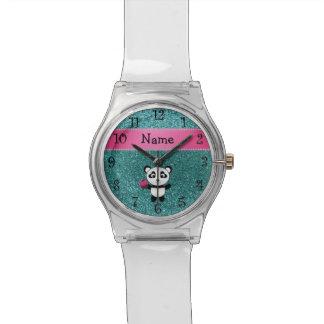 Personalized name panda cupcake turquoise glitter watch